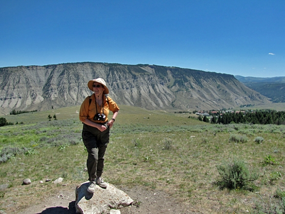 Anne with Fort Yellowstone in the Background