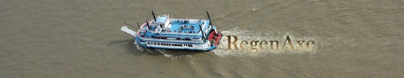 The Mississippi River tour boat, Tom Sawyer, as viewed from the Arch