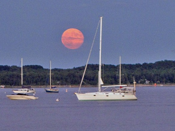 Moon Rising Over Harbor Springs