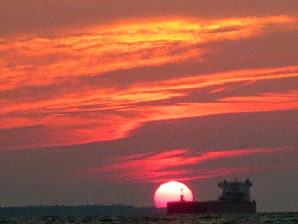 Lake Boat and Superior Sunset