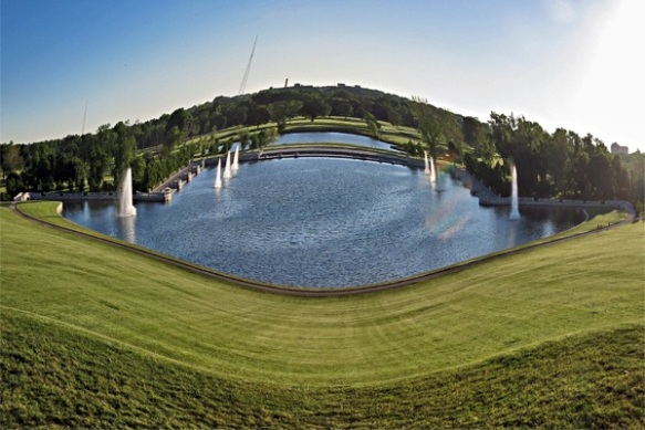 Fisheye View of the Grand Basin from Atop Art Hill