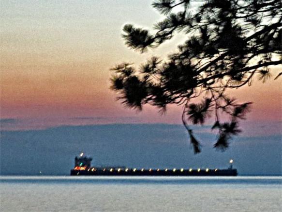 Lake Freighter Lit Up