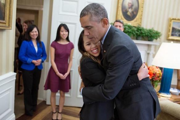 Obama Hugging Ebola Nurse - From Whitehouse.gov