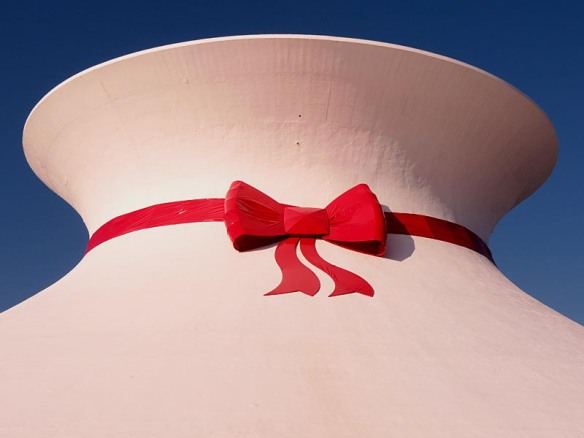 McDonnell Planetarium Christmas Decoration on a Sunny Day