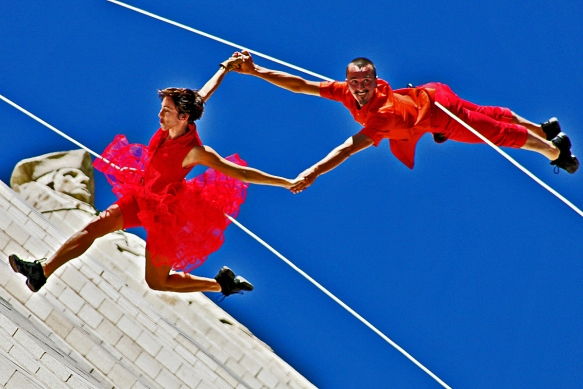 Bandaloop Dame and Devil Dance Across the Face of the Continental Building, 2012