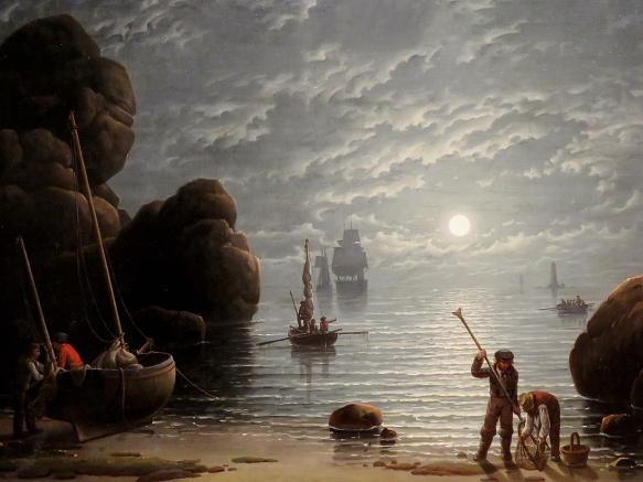 Moonlight Coastal Scene, Robert Salmon, 1836
