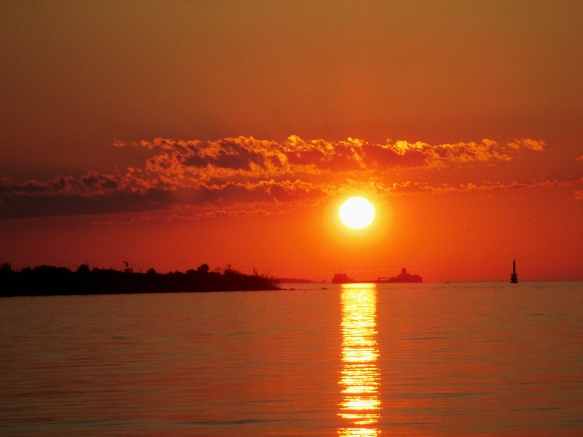Sunset With Freighter