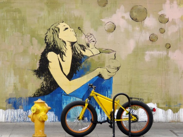 LA Wall Art with Yellow Bicycle and Fire Plug