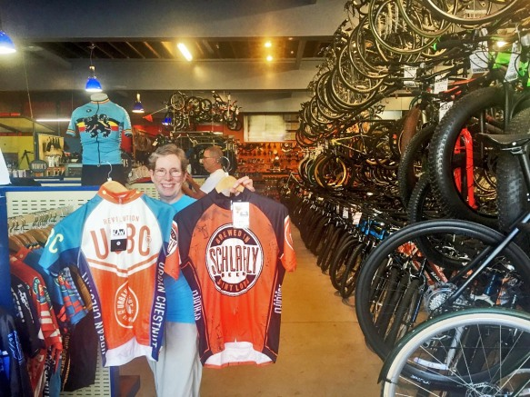 Anne Checking-Out Beer Jerseys at the New Big Shark Bicycle Store