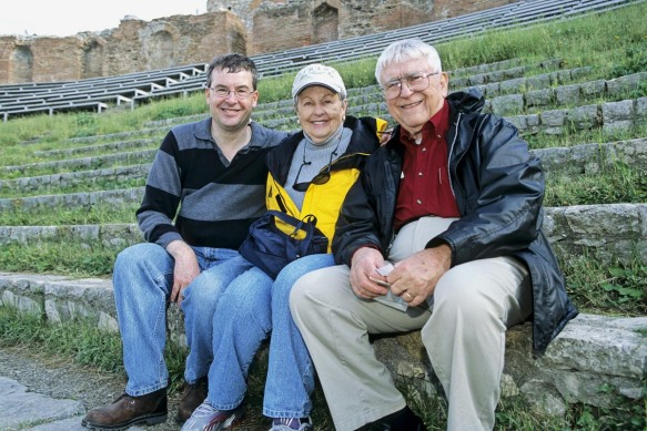 Chris, Mom and Dad at a Greek Theater in Taromia