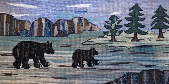 Bear Hooked Rug - Bright Side