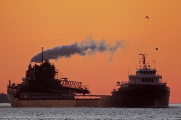 Down-bound Freighter at Sunset