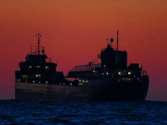 Up-Bound Ore Freighter at Dusk