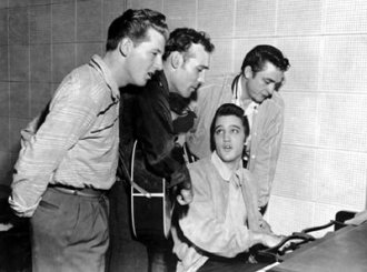 The million Dollar Quartet. L to R: Jerry Lee Lewis, Carl Perkins, Elvis Presley and Johnny Cash