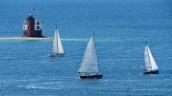 Sailboats Passing Round Island Lighthouse