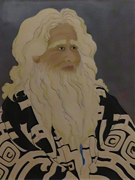 Old Ainu Man, Paul Jacoulet, 1950