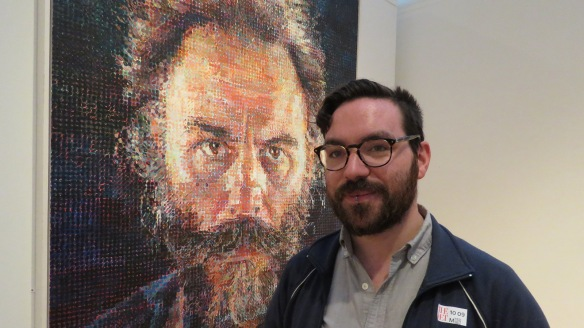 Dan with Lucas by Chuck Close at the Met